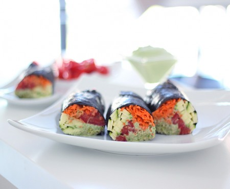 Raw Vegan Nori Rolls with Cilantro Sauce
