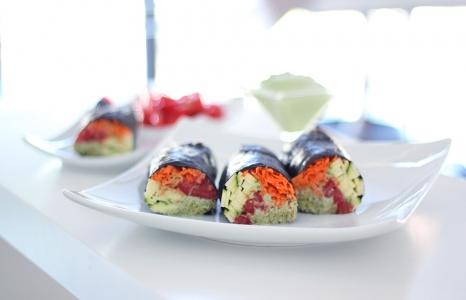(English) Raw Vegan Nori Rolls with Creamy Cilantro Sauce
