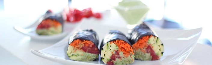 (English) Raw Vegan Nori Rolls with Creamy Cilantro Sauce