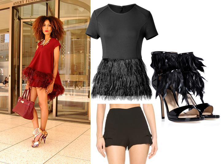 5 Ways To Style Shorts: Daytime feathers with matching feathered top and ruffle shorts.