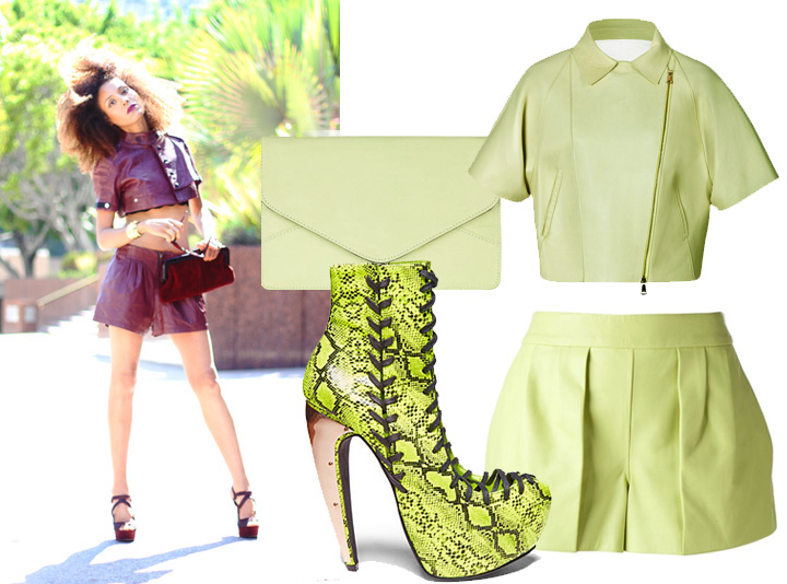 5 Ways To Style Shorts: Leather head-to-toe with color-coordinated shorts, cropped jacket and high heels.