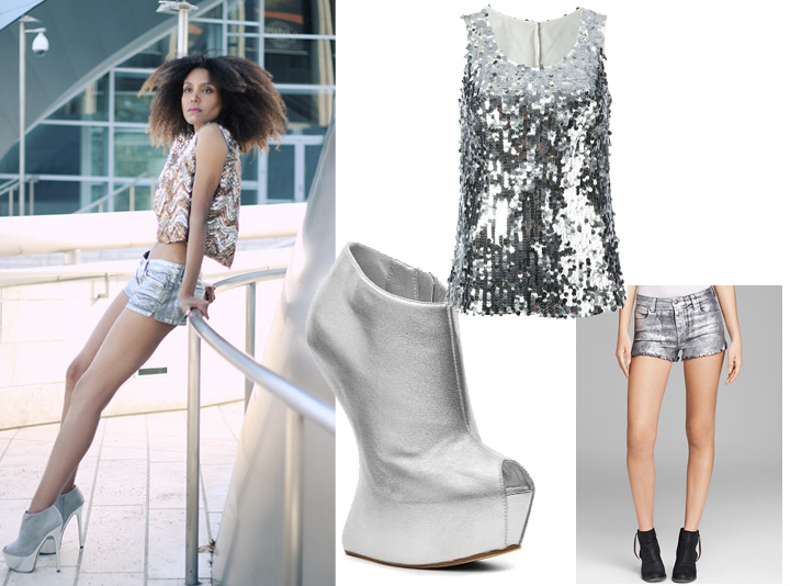 5 Ways To Style Shorts: Add some sparkle with silver coated short, a sequin top and silver metallic platform booties.