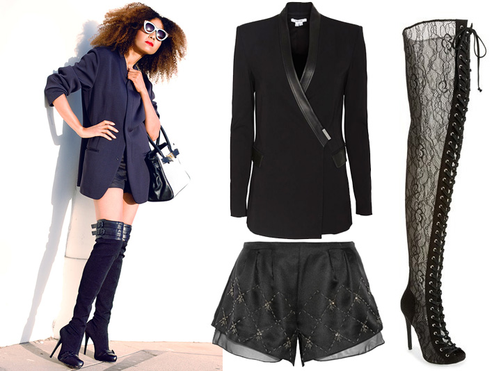 5 Ways To Style Shorts: Sex it up with a pair of killer thigh high boots and a stylish neoprene blazer.