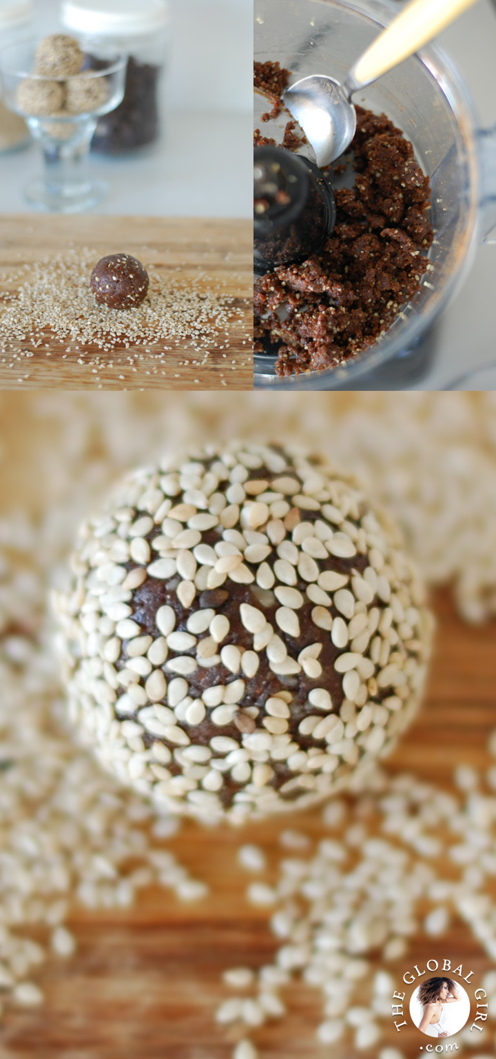 Chocolate Sesame Balls. This super healthy dessert is raw, vegan, dairy free, gluten free, oil free and without any refined sugar. The perfect guilt-free snack.
