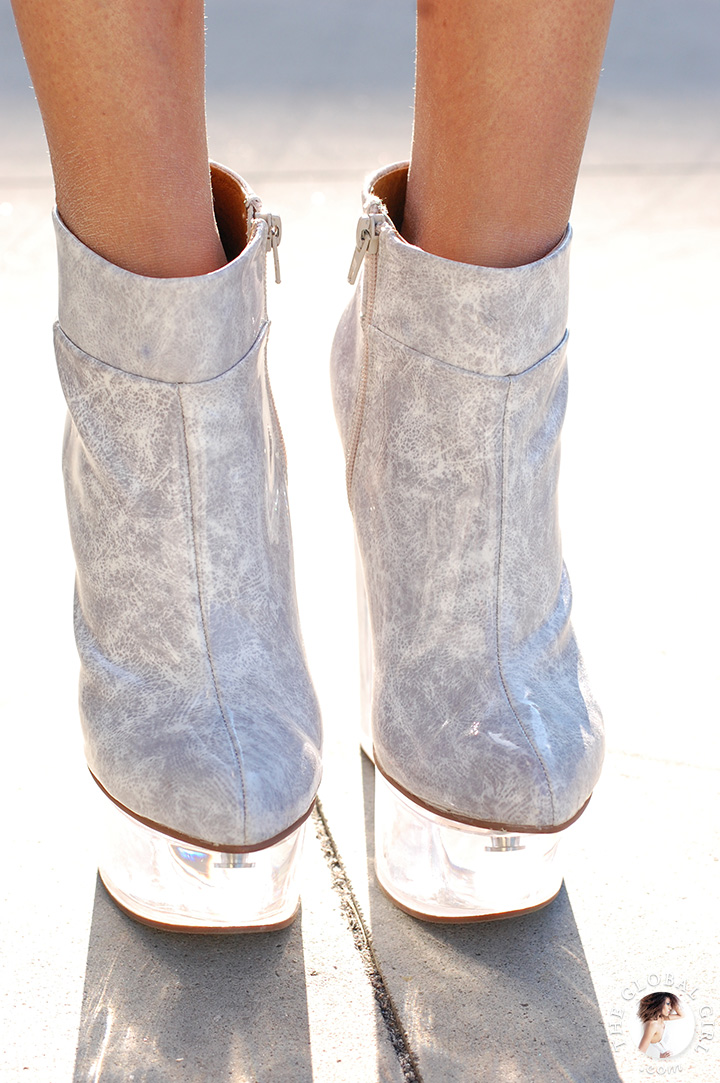 Jeffrey Campbell clear plastic heel platform shoes.