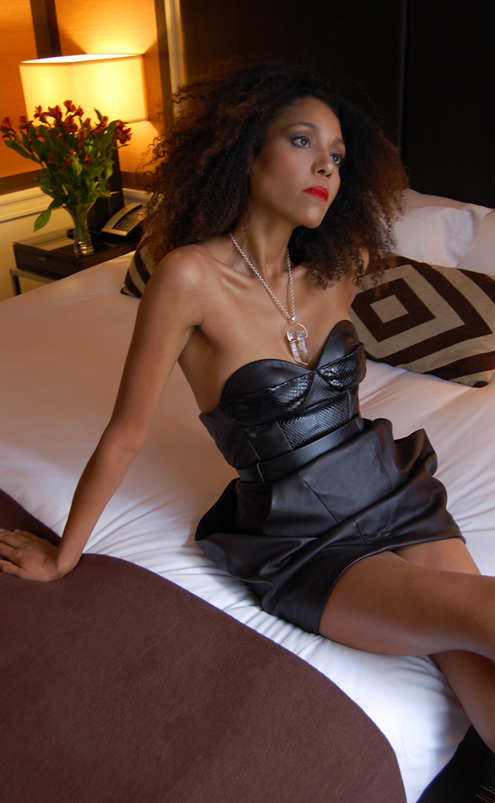 The Global Girl Daily Style: Ndoema photographed in a lamb and python leather bustier dress by Mimi Plange at the Empire Hotel during New York Fashion Week Fall 2014.
