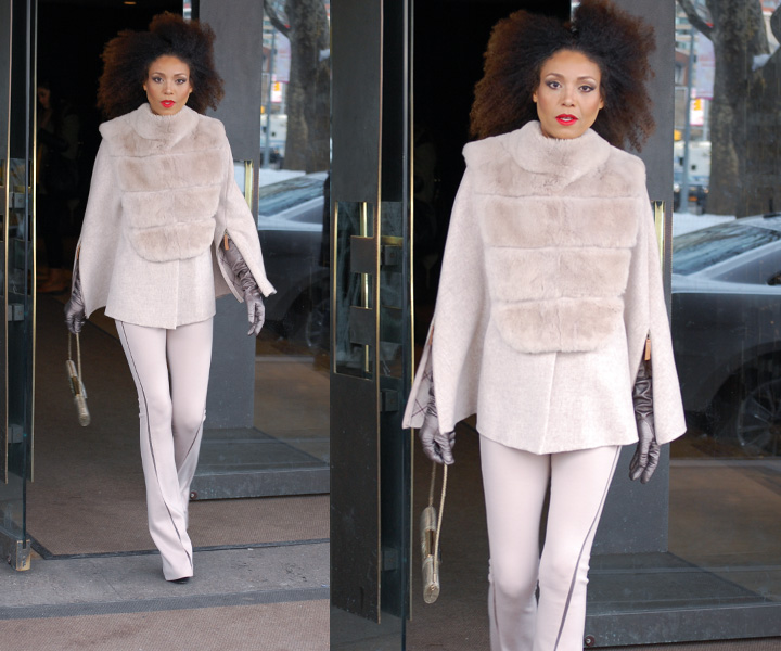 The Global Girl Daily Style: Ndoema photographed in a fur and wool cape with matching flare pants at the Empire Hotel during New York Fashion Week Fall 2014.
