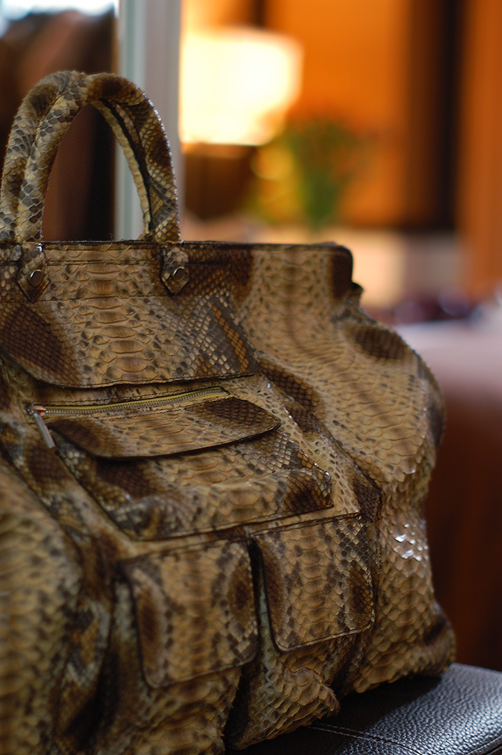 The Global Girl Daily Style: Python weekender bag by Mimi Plange | Empire Hotel during New York Fashion Week Fall 2014.
