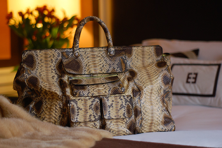 The Global Girl Daily Style: Python leather bag by Mimi Plange | Empire Hotel during New York Fashion Week Fall 2014.