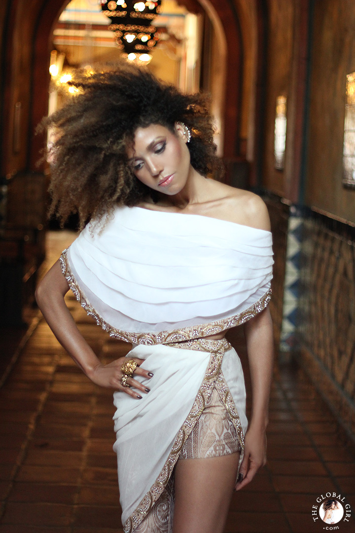 Ndoema wears a white and gold three-piece silk ensemble by Sheena Trivedi in this Moroccan inspired fashion editorial lensed by Phillip James.
