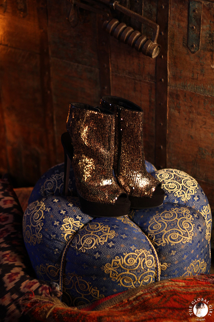 Gold sequin open toe stiletto boots