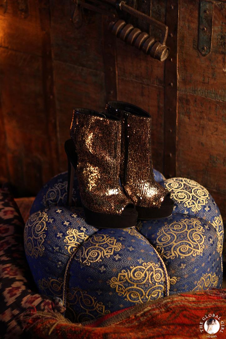 Gold sequin open toe stiletto boots