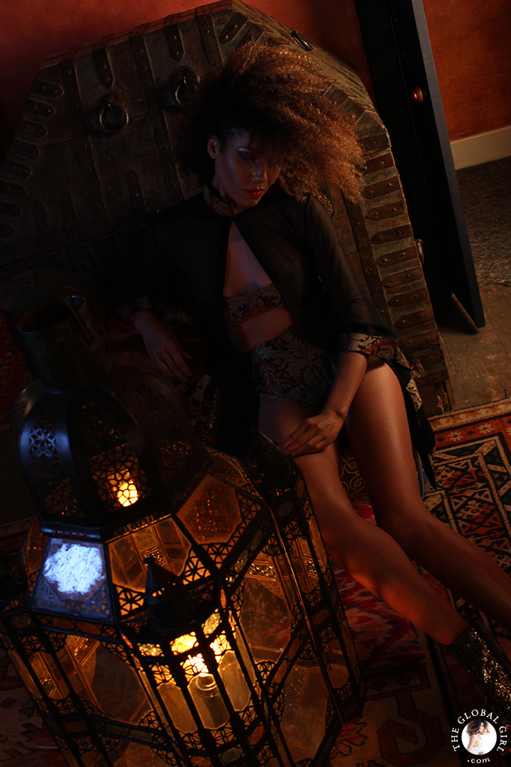 A Night in Casablanca: In this Moroccan themed fashion editorial, Ndoema sports a silk kaftan with high waist briefs and matching bustier bra.
