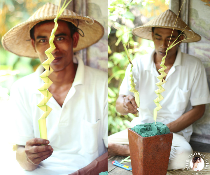The Global Girl Travels: Exotic getaway in Canggu Beach, Bali. The ancient art of Balinese ornaments, gebogan (flower offerings) and janur (palm leaf) arrangements, plays a central part in the island's way of life.