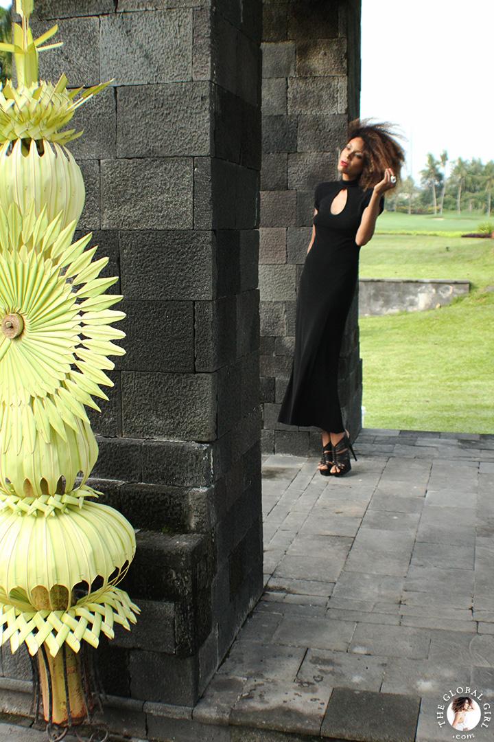 The Global Girl Travels: Ndoema at the Hyatt Regency Yogyakarta in Indonesia. A green oasis in the island of Java. Black maxi dress by Tadashi Shoji.