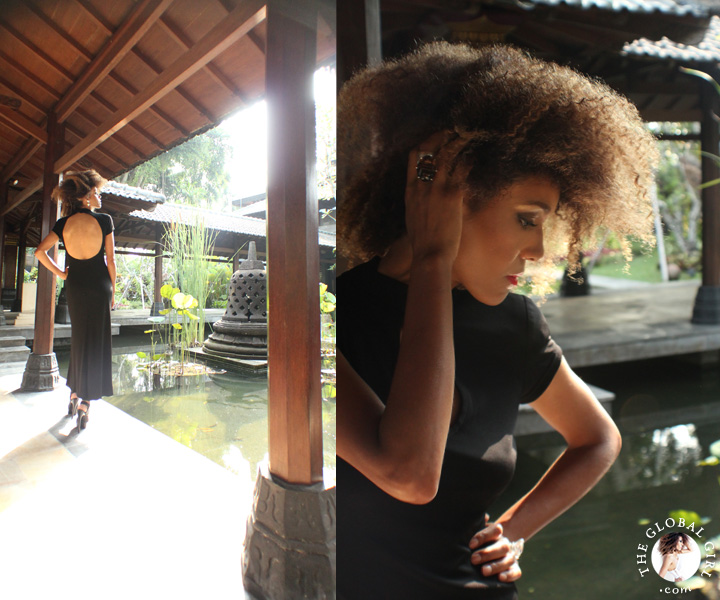 The Global Girl Travels: Ndoema at the Hyatt Regency Yogyakarta in Indonesia. A green oasis in the island of Java. Black backless maxi dress by Tadashi Shoji.
