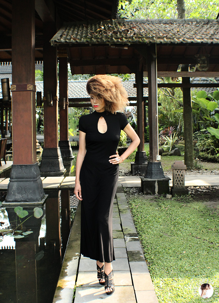The Global Girl Travels: Ndoema at Hyatt Regency Yogyakarta in Indonesia. A green oasis in the island of Java. Black maxi dress by Tadashi Shoji.
