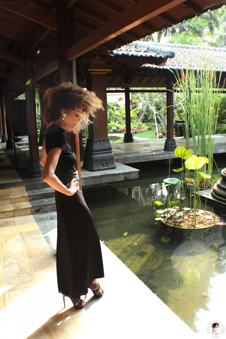 The Global Girl Travels: Ndoema at Hyatt Regency Yogyakarta in Indonesia. A green oasis in the island of Java. Black maxi dress by Tadashi Shoji.
