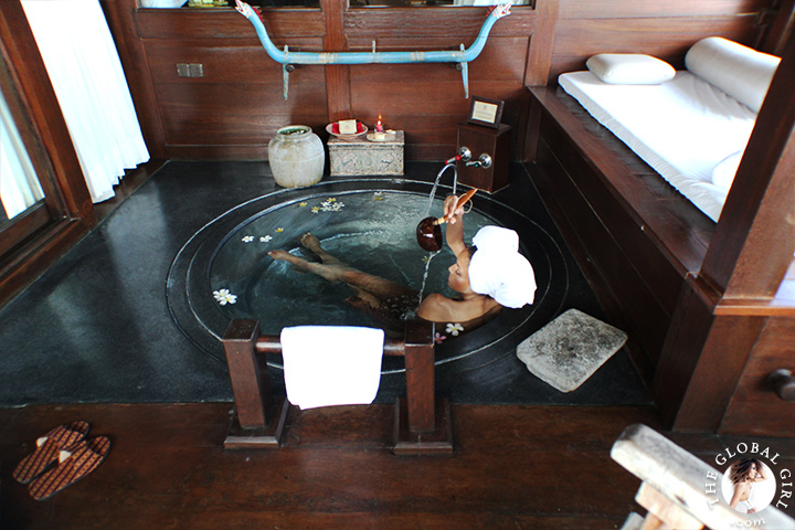 The Global Girl Travels: Ndoema luxuriates in her exotic Indonesian beach front suites with private attached spa in Canggu Beach, Bali