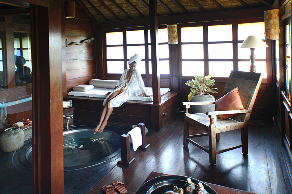 """alt=""""The Global Girl Travels: Ndoema luxuriates in her exotic Indonesian beach front suites with private attached spa. Canggu Beach, Bali."""""""