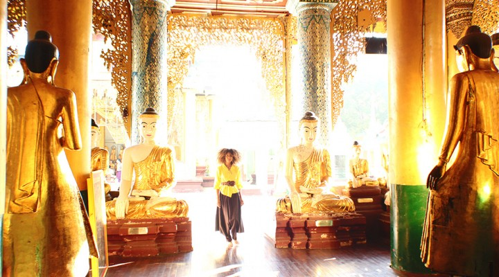 The Global Girl Travels: Ndoema at the Shwedagon Pagoda in Yangon, Myanmar.
