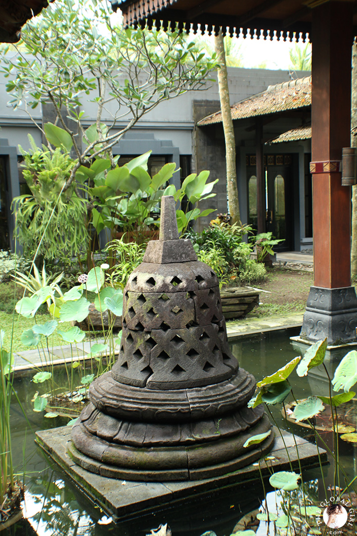 The Global Girl Travels: Hyatt Regency Yogyakarta in Indonesia. A green oasis in the island of Java. These massive bell-shaped stupas mirror those found at Borobudur.