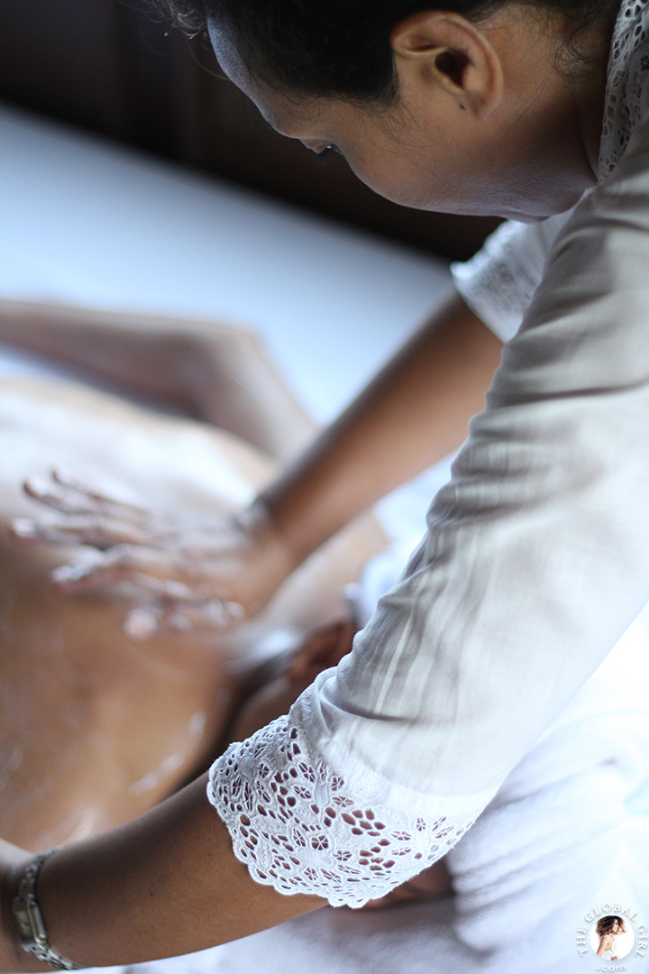 The Global Girl Travels: Enjoying a welcoming massage in Canggu Beach, Bali.