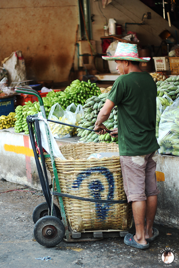 The Global Girl Travels: Shopping for fresh produce at Khlong Toey market in Bangkok, Thailand.