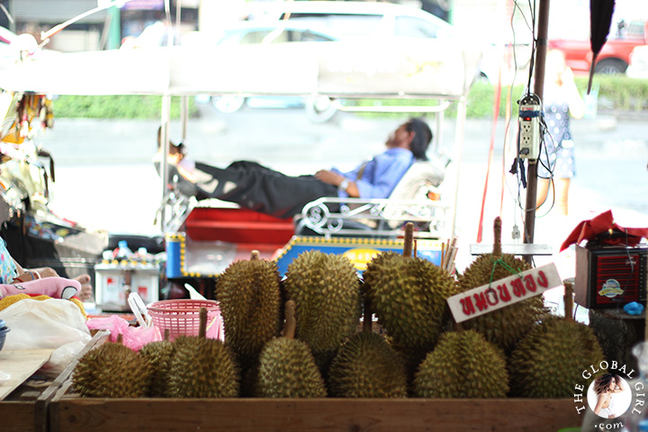 The Global Girl Travels: Fresh durians at Khlong Toey market in Bangkok, Thailand.