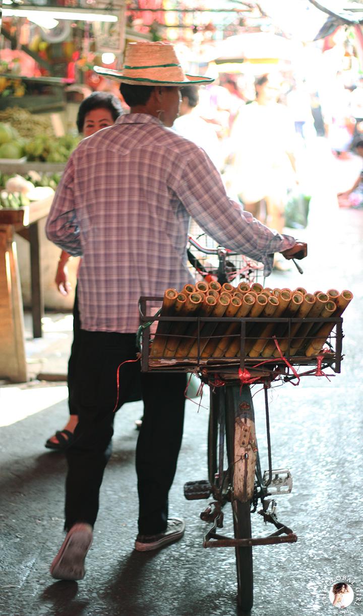 The Global Girl Travels: Thai Khao Lam at Khlong Toey market in Bangkok, Thailand.