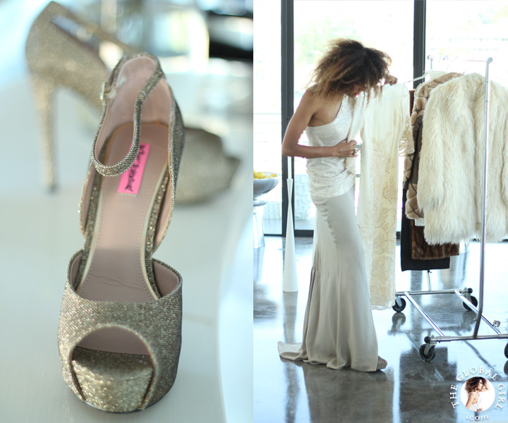 The Global Girl Styling Tips: Get superstar Oscar style with Ndoema. Pair statement-making Betsey Johnson glitter pumps with a mermaid maxi dress for that classic red carpet ready look.