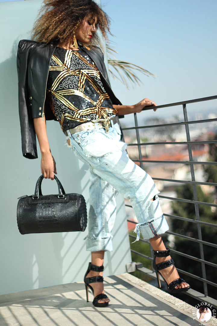 The Global Girl Styling Tips: Get superstar Oscar style with Ndoema. Pair  jewel-embellished platform sandals with ripped boyfriend jeans, a black and gold sequin blouse, oversized tassel earrings and crocodile embossed leather bag for a confident day-into-evening tomboy style.
