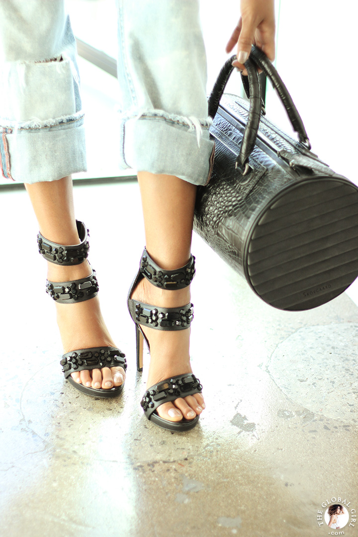 The Global Girl Styling Tips: How to style boyfriend jeans with jewel embellished platform sandals and crocodile embossed leather bag for that confident day-into-evening tomboy look.
