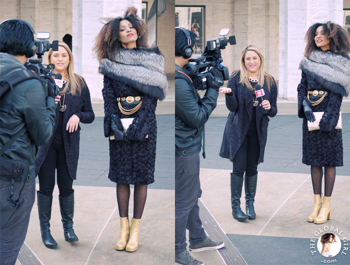 The Global Girl Daily Style: Ndoema rocks the black and gold look at New York Fashion Week.