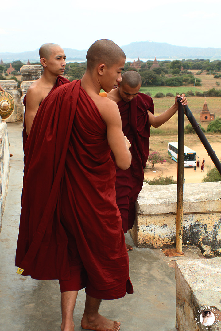 The Global Girl Travels: Burmese Monks at Shwe Sandaw Paya Padoda in Bagan, Myanmar.