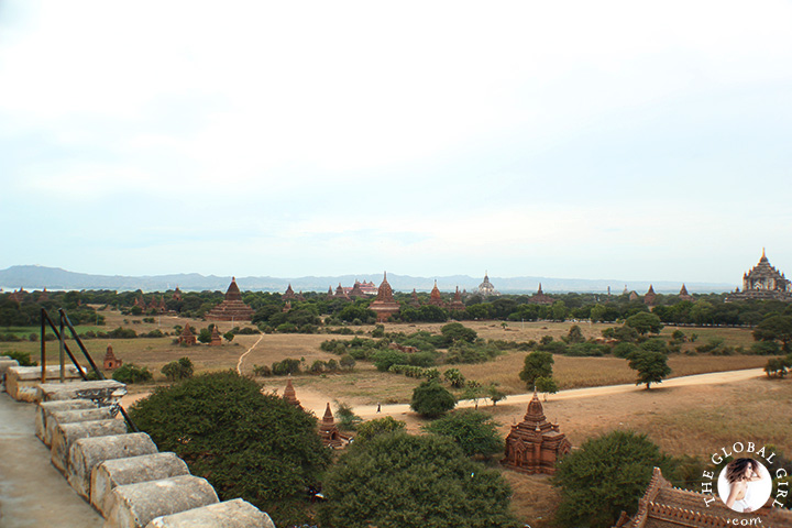 The Global Girl Travels: Panoramic view of the valley at Shwe Sandaw Paya Padoda in Bagan, Myanmar.