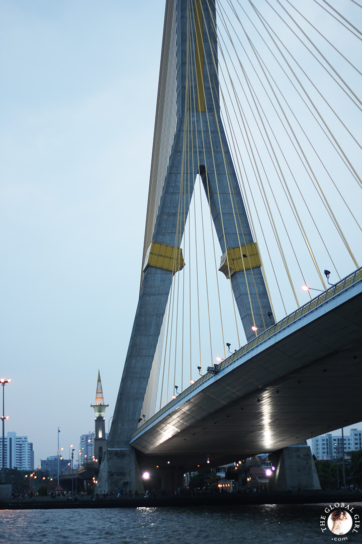 The Global Girl Travels: The spectacular Rama VIII Suspension Bridge across the Chao Phraya river in Bangkok, Thailand.