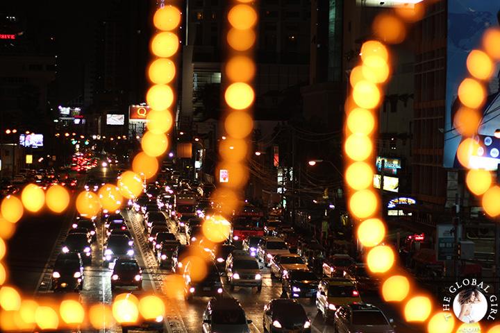 The Global Girl Travels: City lights at night in Bangkok, Thailand.