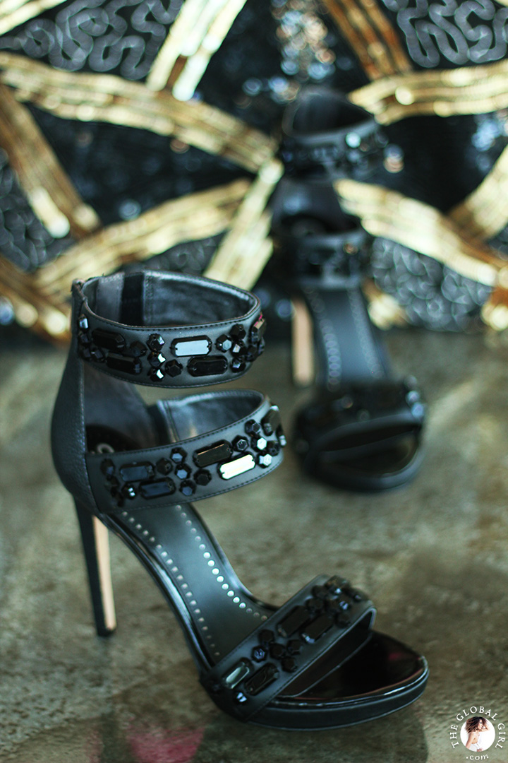 The Global Girl Styling Tips: How to rock Sam Edelman edgy jewel-embellished platform sandals.