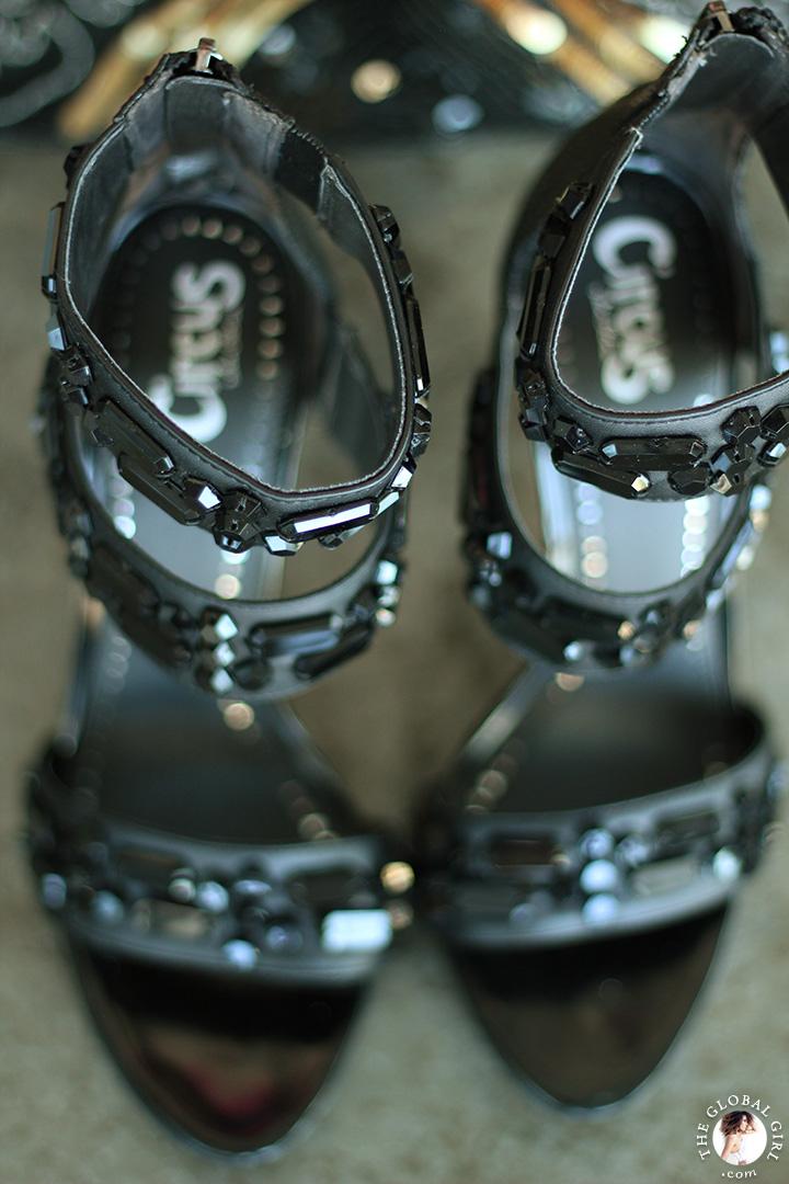 The Global Girl Styling Tips: How to rock edgy Sam Edelman jewel-embellished platform sandals.
