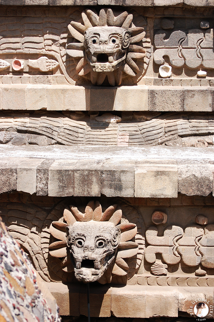 The Global Girl Travels: Temple of Quetzalcoatl, the Feathered Serpent, in Teotihuacan, Mexico.