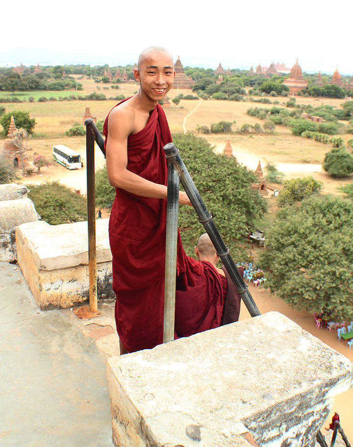 The Global Girl Travels: Burmese monk at Shwe Sandaw Paya Padoda in Bagan, Myanmar.