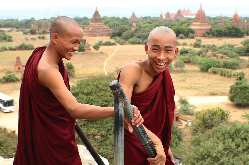 The Global Girl Travels: Burmese Monks at Shwe Sandaw Paya Padoda in Bagan, Myanmar.