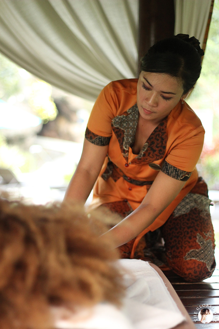 The Global Girl Travels: Traditional Indonesian deep oil massage at the Hyatt Regengy Yogyakarta on the island of Jakarta, Indonesia.