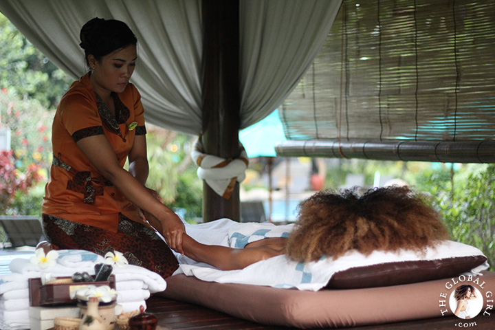 The Global Girl Travels: Ndoema gets a taste of traditional Indonesian deep oil massage at the Hyatt Regengy Yogyakarta on the island of Jakarta, Indonesia.