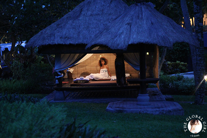 The Global Girl Travels: Ndoema gets a taste of traditional Indonesian deep oil massage at the Hyatt Regengy Yogyakarta's outdoor spa on the island of Jakarta, Indonesia.