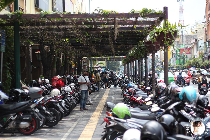 The Global Girl Travels: A sea of motocycles in Yogyakarta's Malioboro street, Indonesia