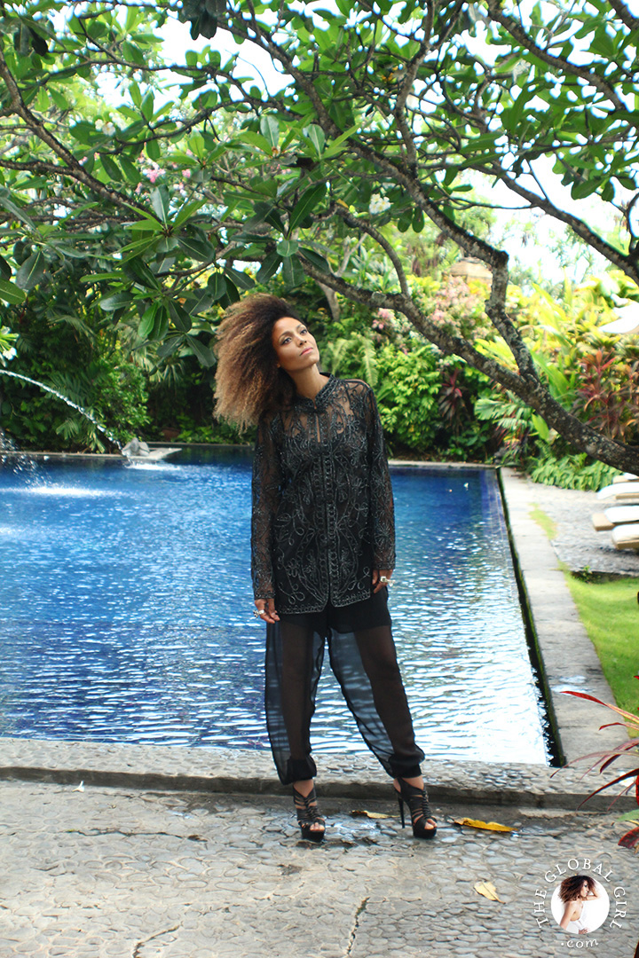 The Global Girl's Daily Style: Ndoema rocks her signature travel look, black sheer top and pants in Canggu Beach, Bali
