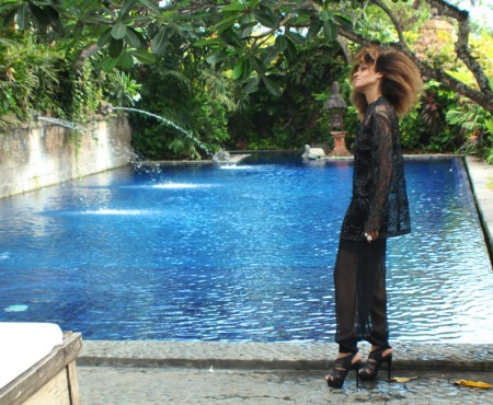 The Global Girl's Daily Style: Ndoema rocks her signature travel look, black sheer top and pants in Canggu Beach, Bali