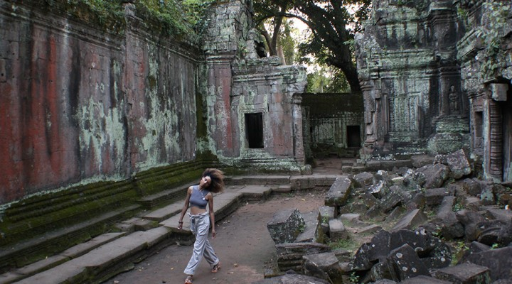 The Global Girl Travels: Ndoema at Ta Prohm's jungle temple in Cambodia